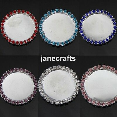 30pcs 25mm Rhinestone Cameo Cabochon Setting Base Alloy Button Flatback Wedding