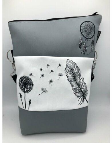 *handmade *bestickt Umhängetasche Handtasche Foldover Pusteblume, Feder