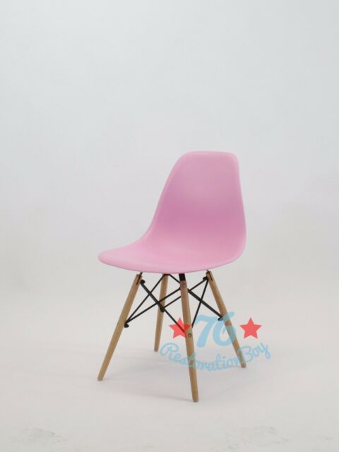 CYBER MONDAY set of 4 pink mid century modern eames style DSW dining side chair