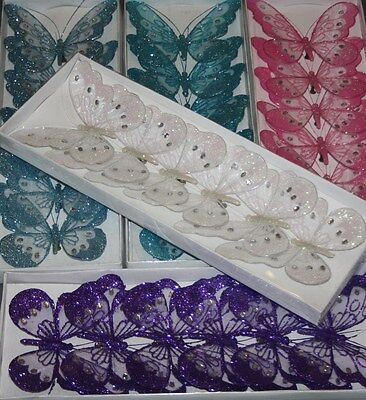 6 large mesh clip on glitter butterflies wedding craft scrapbook embellishment