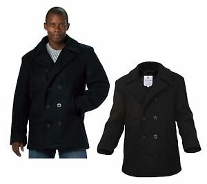 Wool US Navy Type MENS COAT Pea Coat, Black by Rothco ALL SIZES ...