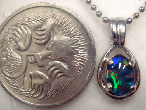 Natural Black Triplet Opal Pendant With 925 Solid Silver FREE JEWELLERY BOX!!!