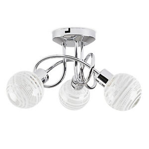 Modern 3 way chrome spiral ceiling light fitting glass globe shades image is loading modern 3 way chrome spiral ceiling light fitting aloadofball Gallery