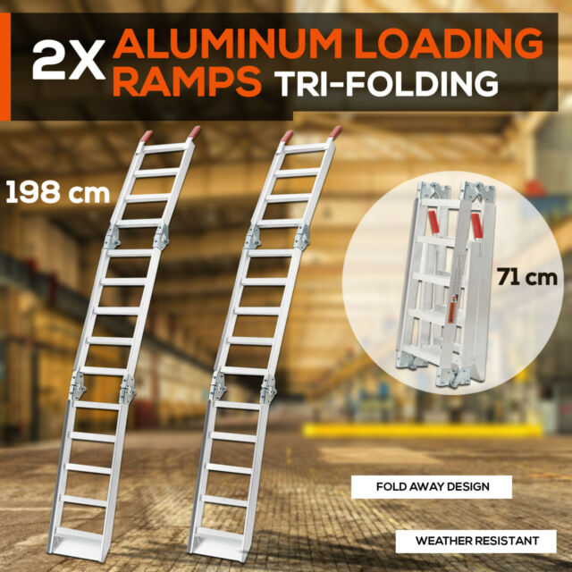 2X ALUMINIUM TRI-FOLDING LOADING RAMPS For ATV Motobikes Motorcycles Trailers