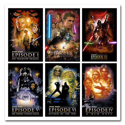 Star Wars Episode 1 to 6 Classic Movie Art Silk Poster 13x20 24x36 inches