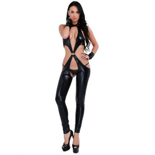 PVC Wetlook Leather Catsuit Women Adult Thong Jumpsuit Bodysuit Clubwear Costume