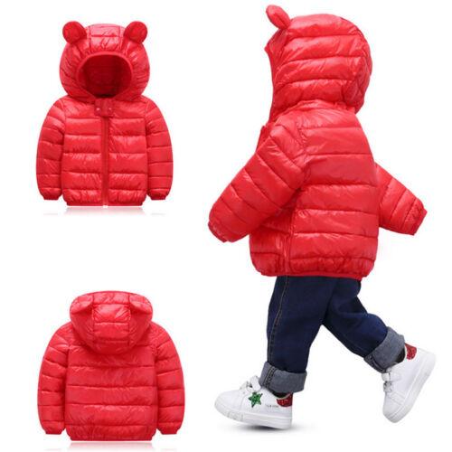 Kids Boys Girls Winter Hoodie Down Jacket Puffer Coat Outwear Windproof Snowsuit