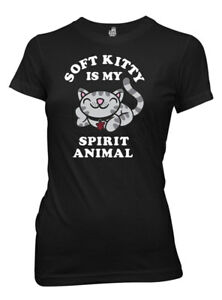 The Big Bang Theory Soft Kitty Spirit Animal Juniors Black T-Shirt