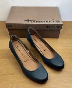Tamaris-Wortmann-Leather-Court-Shoes-Block-Heel-Navy-Blue-Size-5-Anti-Shock