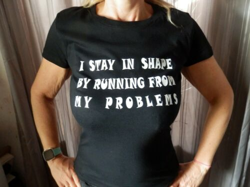 I STAY IN SHAPE BY RUNNING  AWAY Various Coloured T Shirt Joke Novelty Gift
