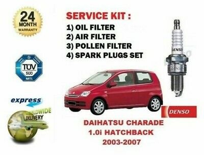 SPARK PLUGS SERVICE KIT FOR DAIHATSU CHARADE 1.0 2003-/> OIL AIR POLLEN FILTER