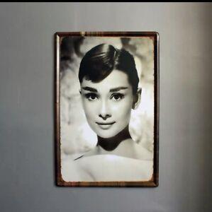 plaque metal vintage Audrey Hepburn 40*60 CM