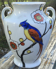 VINTAGE ART DECO NORITAKE VASE - PARROT AND FLOWERS 6 IN.  WITH HANDLES