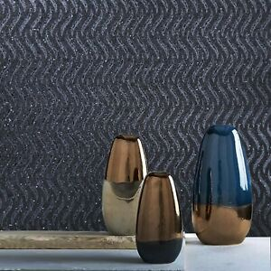 Real-Natural-Mica-Vermiculite-charcoal-Gray-silver-metallic-wave-lines-Wallpaper
