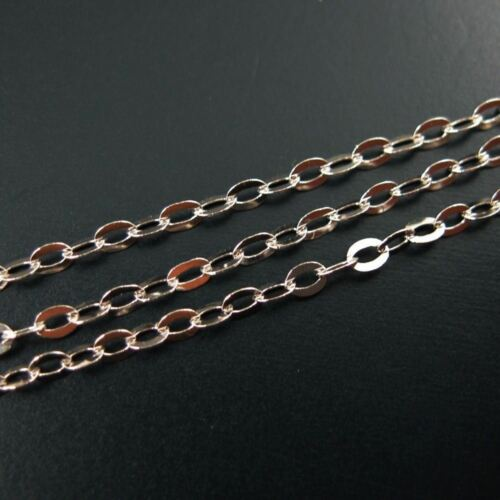 Rhodium Sterling Silver Flat Cable Oval Chain 2mm Bulk Lots Unfinished Chain