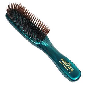 Phillips-Light-Touch-6-GEM-EMERALD-8-034-nylon-bristle-Hair-Brush