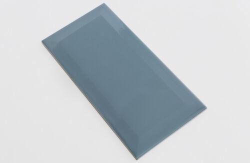 Wandfliese Metro Fliesen blau-grau glossy glänzend 10x20cm 1 Karton mit 0,8m²