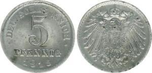 Empire 5 Pfennig J.297 1915 D Prfr Brilliant Uncirculated