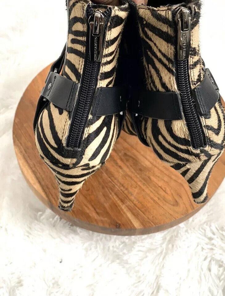 Vince Camuto Black Zebra Pattern Ankle Booties Bo… - image 5