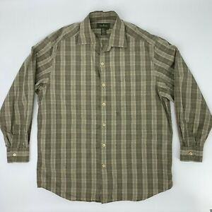 Ermenegildo-Zegna-Button-Up-Shirt-Men-039-s-Size-L-Long-Sleeve-Casual-Collared-Plaid