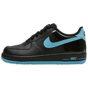sports shoes 6ae29 c605a Image is loading NIKE-AIR-FORCE-1-LOW-BLACK-CHLORINE-BLUE-