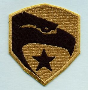 GI-Joe-Fully-Embroidered-GOLD-Eagle-3-034-Iron-on-Patch-ie-General-Hawk