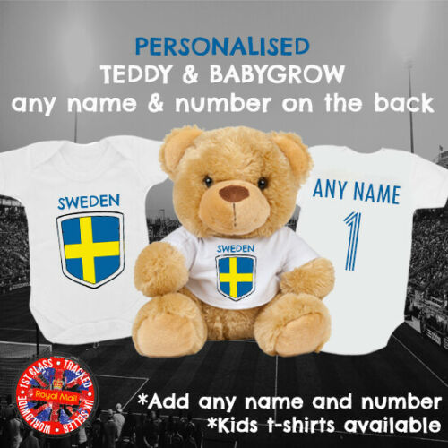 Soccer Sweden Football Babygrow /& Teddy Bear Personalised Matching Gift Set