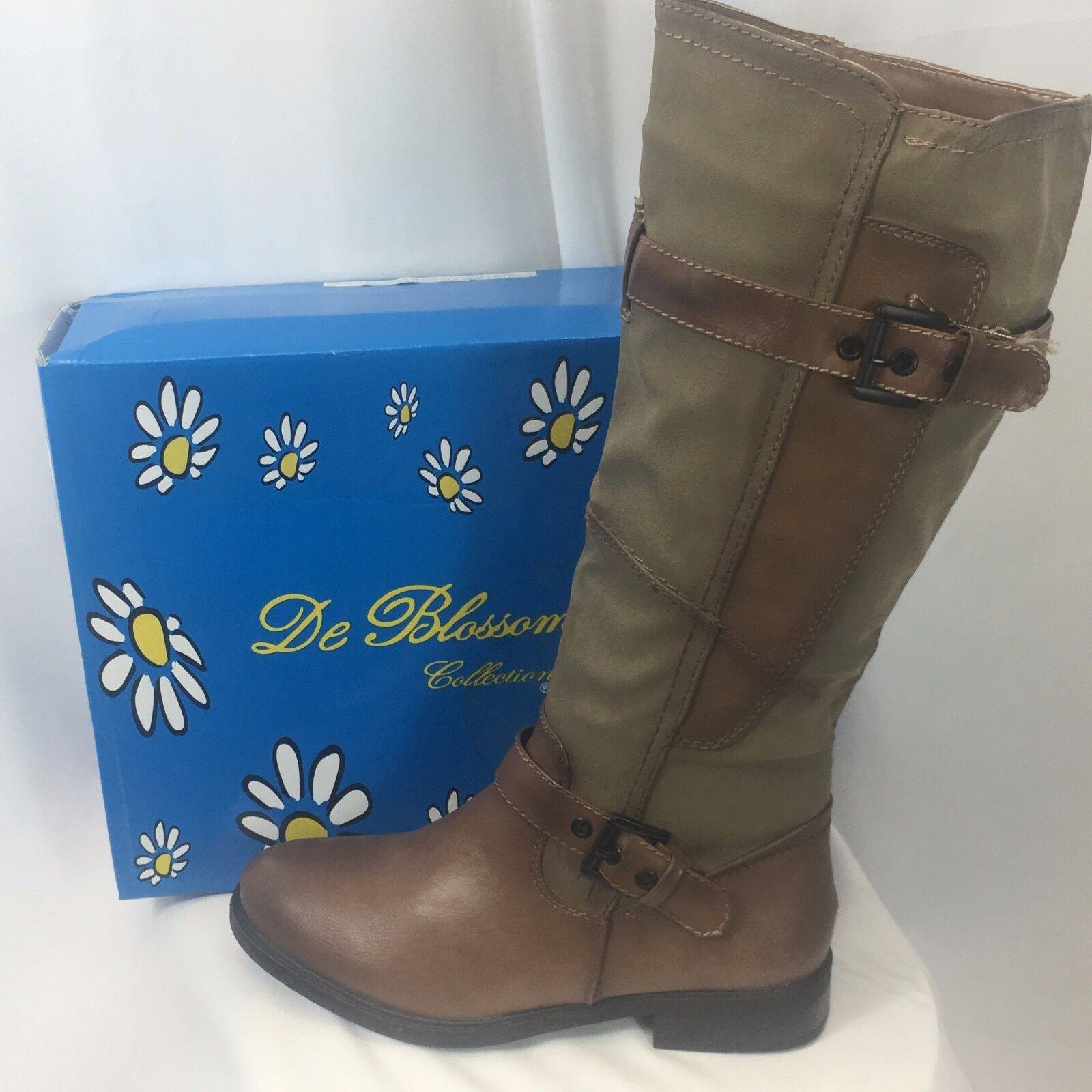 NIB DE BLOSSOM Women's Round Toe Zip Up Riding Boots PITA-17 Nude