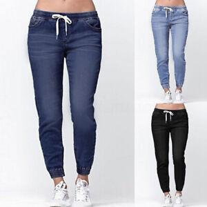 ZANZEA-Femme-Pantalon-Taille-elastique-Jean-Bande-elastique-Coupe-slim-Longue