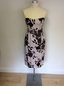 COAST-PALE-NUDE-PINK-amp-BROWN-FLORAL-STRAPLESS-PENCIL-DRESS-SIZE-12