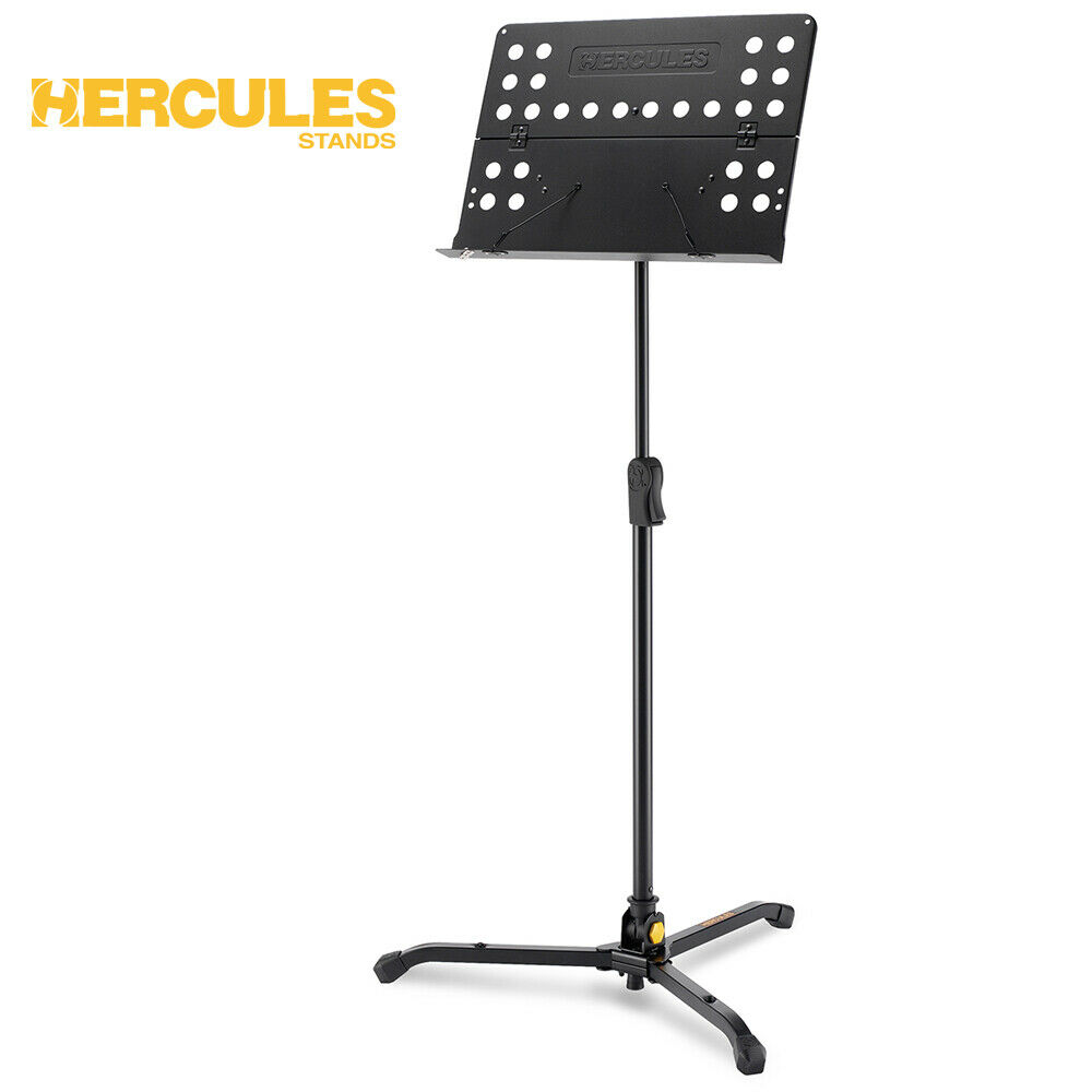 NEW Hercules BS311B EZ Clutch Tripod Orchestra Music Stand w  Perforated Desk
