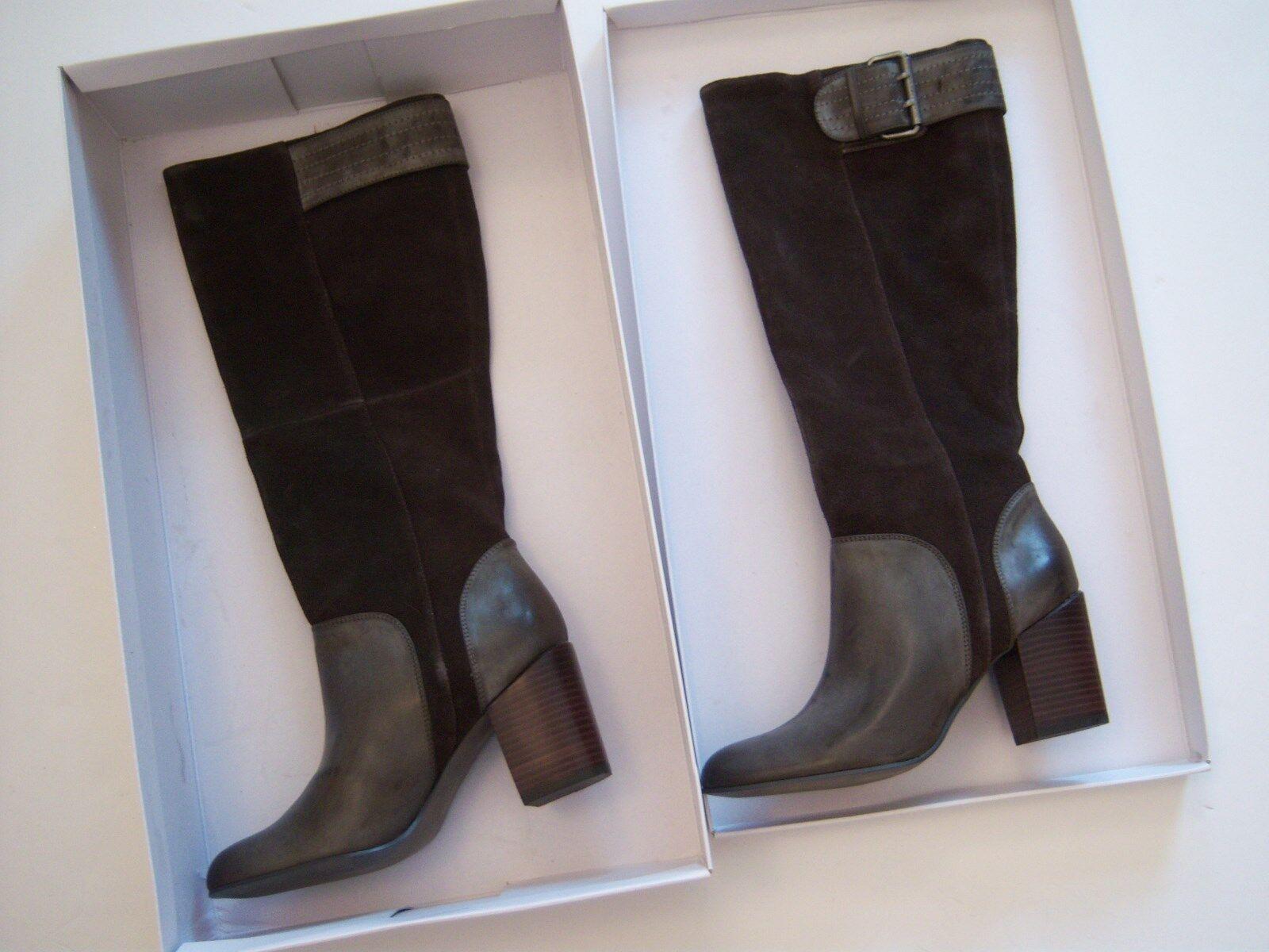 Calvin Klein CK Jeans Gemma Tall High Heel Stiefel Braun Größe 8.5 Leder & Suede