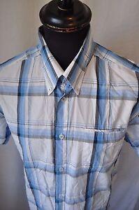 Ben-Sherman-blue-check-short-sleeve-shirt-size-large-casual-mod
