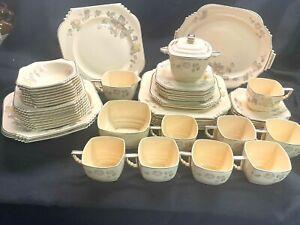 Vintage Leigh Potters Ware Dinnerware Set of 54! Rare Copenhagen Rose  Art Deco