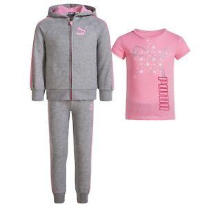 5ecb5dd5fd73 Image is loading Puma-Toddler-Girls-3pc-Set-Shirt-Joggers-amp-