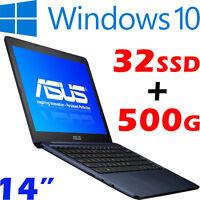 Asus Eeebook E402sa Intel N3050 32gb-ssd +500gb-sata 14 Win10 Slim Light Laptop