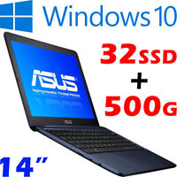 Asus Eeebook E402sa Intel N3050 32gb-ssd +500gb-sata 14 Win10 Slim Light Laptop