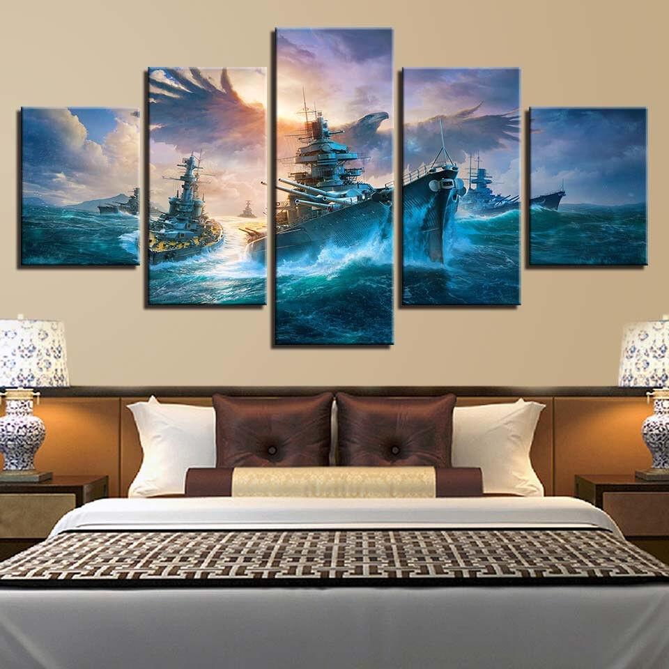 Flying Giant Sea Eagle Ship Sailing 5 Panel Canvas Print Wall Art Home Decor