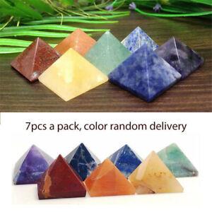 Pack-of-7-Chakra-Pyramid-Stone-Set-Crystal-Healing-Wicca-Natural-Spirituality-US