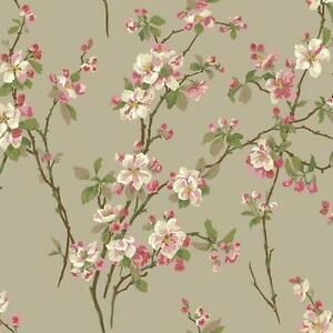 Wallpaper-Raised-Ink-Cherry-Blossoms-Floral-Red-Green-Pink-on-Pealized-Beige
