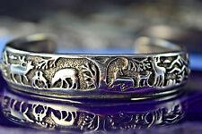 Sterling Silver Smaller Version shadowboxed Deer, Elk, Bear cuff style Bracelet