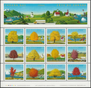 MAPLE-TREES-full-PHILATELIC-sheet-of-12-DIFFERENT-stamps-Canada-1994-1524-MNH
