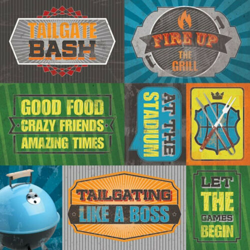 Paper House TAILGATING TAGS 12x12 Scrapbooking Paper 3x4 4x6 Cards 2pcs