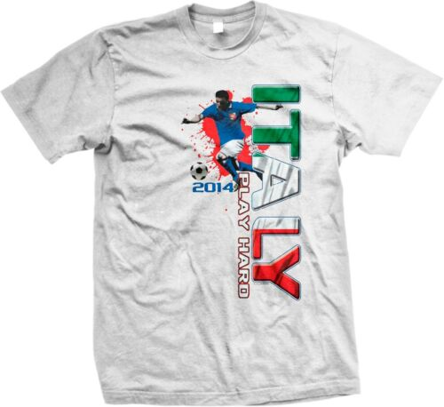 Italy 2014 Play Hard Italian Team Pride Soccer Player World Cup Mens T-shirt