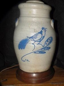 Are Salt Lamps Safe For Parrots : ROWE SALT GLAZE POTTERY LAMP WITH BIRD MOTIF eBay