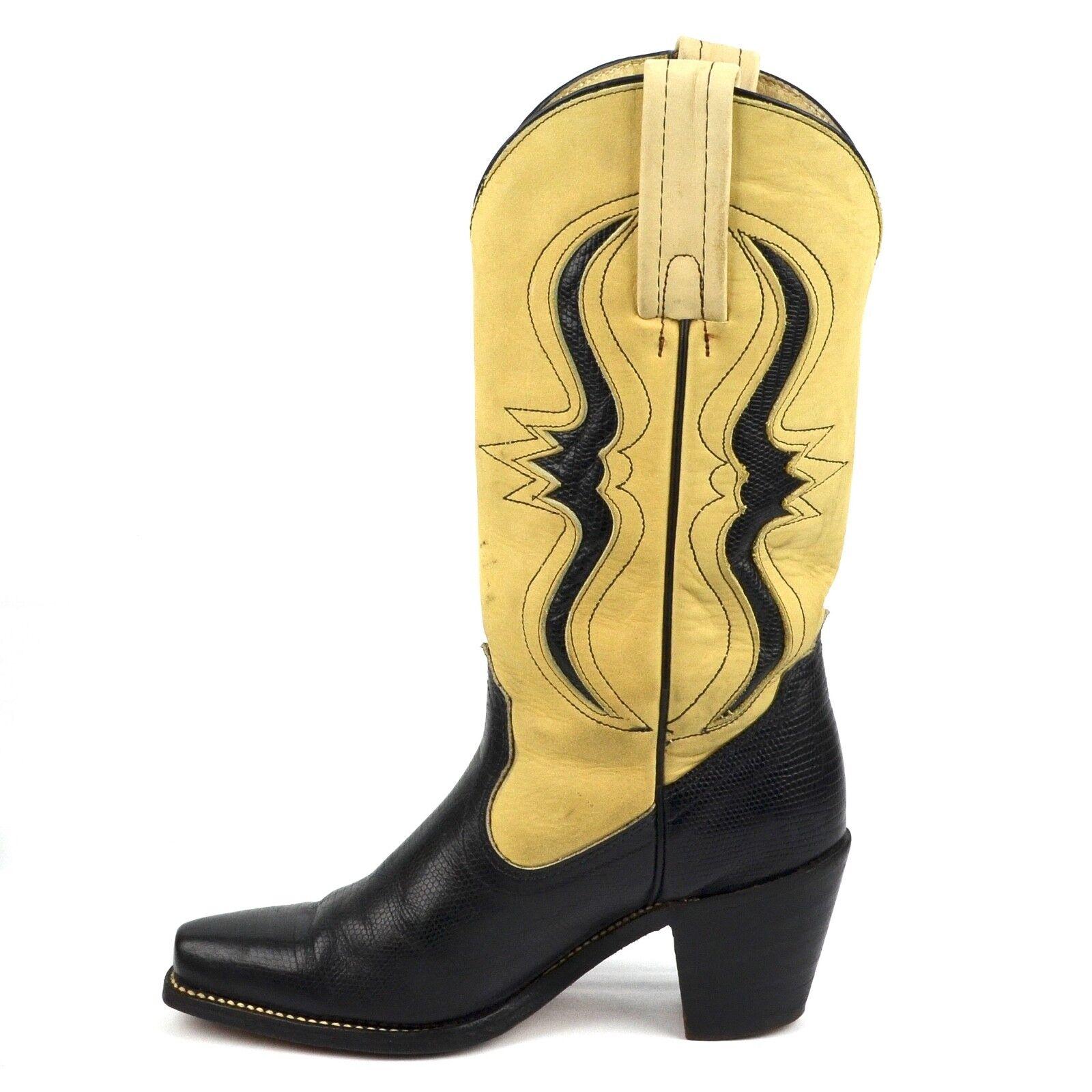 Para mujer botas Frye Vaquera exóticas talla_6B pie de lagarto Negro y Beige Cuero Usa