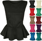 New Womens Peplum Frill Hem Sleeveless Ladies Plain Bodycon Party Top 8 - 14