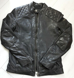 Tigha-Herren-Biker-Lederjacke-Black-Schwarz-Sheep-Leather-Size-S