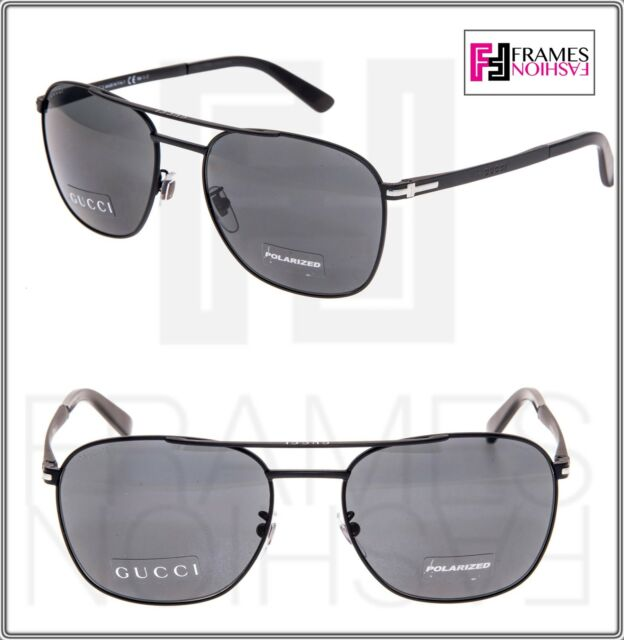 86a8b56639 Frequently bought together. GUCCI Square GG2270FS Matte Black Steel  Polarized Sunglasses Special Fit 2270