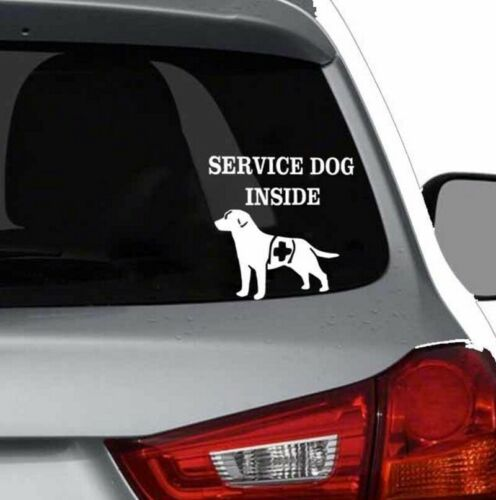 SERVICE DOG INSIDE Car Window Sticker Decal Waterproof Stick on Peel Off Visible